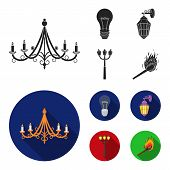 Led Light, Street Lamp, Match.light Source Set Collection Icons In Black, Flat Style Vector Symbol S poster