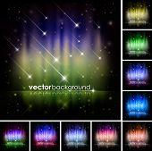Abstract Shiny Stars Background Set
