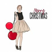Vector Holiday Christmas Fashion Illustration. New Year Style Poster With Glamour Woman In Fluffy Dr poster