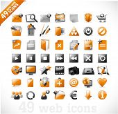 49 glossy Web Icons und Designelemente in Orange und grau-set 2