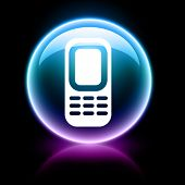 neon glossy web icon - phone