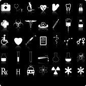 35 blanco en iconos médicos negros