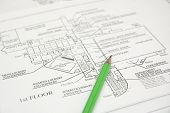 picture of school building  - architectural plan  and green pencil - JPG