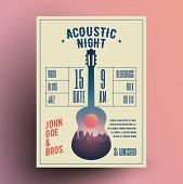 Acoustic Guitar Live Music Night Party Concert Poster Or Flyer Or Banner Template. Vintage Styled Ve poster