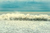 Sea Wave Surf. Sea Waves With A Lot Of Sea Foam. Beautiful Blue Waves With Lot Of Sea Vintage Tonet  poster