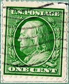 UNITED STATES - CIRCA 1908-1909 : A note with stamp printed in United States. Displays the image of president Benjamin Franklin. United States - circa 1908-1909