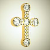 Jewelery: Golden Cross With Diamonds