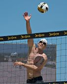 HERMOSA BEACH, CA - JULY 21: Sean Scott  competes in the Jose Cuervo Pro Beach Volleyball tournament