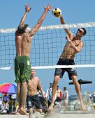 HERMOSA BEACH, CA - JULY 21: Jeremy Casebeer and Ryan Doherty compete in the Jose Cuervo Pro Beach V