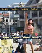 HERMOSA BEACH, CA - JULY 21: Derek Olson competes in the Jose Cuervo Pro Beach Volleyball tournament
