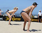 HERMOSA BEACH, CA - JULY 21: Sarah Day and Morgan Beck compete in the Jose Cuervo Pro Beach Volleyba
