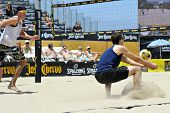 HERMOSA BEACH, CA - JULY 21: John Mayer and Brad Keenan compete in the Jose Cuervo Pro Beach Volleyb