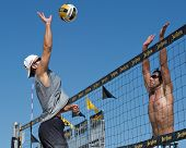 HERMOSA BEACH, CA - JULY 21: Danko Iordanov and John Hyden compete in the Jose Cuervo Pro Beach Voll
