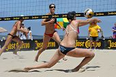 HERMOSA BEACH, CA - JULY 21: Morgan Beck and Kaitlin Sather compete in the Jose Cuervo Pro Beach Vol