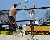 HERMOSA BEACH, CA - JULY 21: Brad Keenan and Andrew Fuller compete in the Jose Cuervo Pro Beach Voll