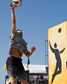 HERMOSA BEACH, CA - JULY 21: John Hyden  competes in the Jose Cuervo Pro Beach Volleyball tournament