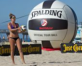 HERMOSA BEACH, CA - JULY 21: Whitney Pavlik competes in the Jose Cuervo Pro Beach Volleyball tournam
