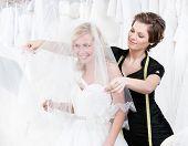 Постер, плакат: Продавец устанавливает покрывало невесты белый фон