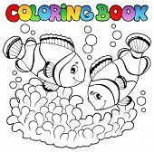 Coloring book two cute clown fishes - vector illustration.