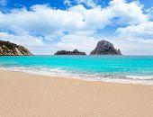 Cala d Hort Ibiza beach Es Vedra island in Mediterranean
