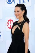 LOS ANGELES - JUL 29:  Lucy Liu arrives at the CBS, CW, and Showtime 2012 Summer TCA party at Beverl