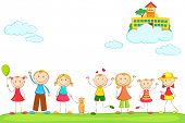 illustration of kids holding hand with school on cloud