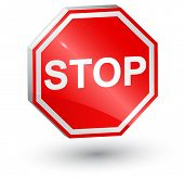 Vector illustration of Stop sign, 3d.