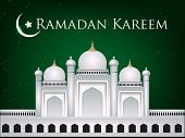stock photo of kaba  - Mosque or Masjid with moon and text Ramadan Kareem EPS 10 - JPG