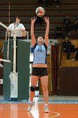 KAPOSVAR, HUNGARY - MARCH 16: Petra Kulcsar in action at the Hungarian Championship volleyball game
