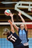 KAPOSVAR, HUNGARY - MARCH 16: Zsofia Harmath (R) in action at the Hungarian Championship volleyball