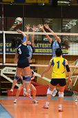 KAPOSVAR, HUNGARY - MARCH 16: Unidentified players in action at the Hungarian Championship volleybal