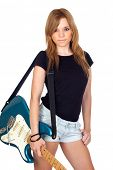 Teen rebellious girl with a electric guitar isolated on a over white background