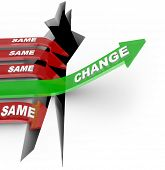 One arrow marked Change succeeds by adapting to changing conditions while several others with the wo
