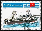 Postage stamp Cuba 1978 Inshore Stern Trawler