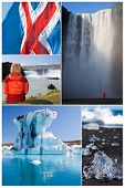 Montage of people hiking and exploring the landscape of Iceland including Skogafoss and Godafoss waterfalls and Jokulsarlon iceberg lake