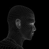 igh resolution concept or conceptual 3D wireframe human male head isolated on black background as metaphor for technology,cyborg,digital,virtual,avatar,model,science,fiction,future,mesh or abstract