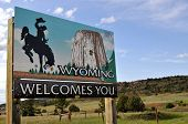 SPEARFISH - JUNE 18: Wyoming tourism marketers are using a new slogan 'theres nothing here' to market Wyoming, the AP reports. A sign welcoming to Wyoming, in Spearfish, on June 18, 2009.