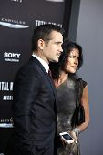 LOS ANGELES - AUG 1: Colin Farrell, Claudine Farrell at the Los Angeles Premiere of 'Total Recall' a