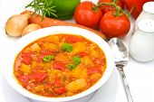 Chicken Breast Soup-Stew-  With Mixed Vegetable And Red Bell Pepper