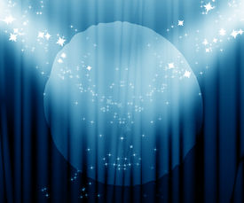 stock photo of curtains stage  - Movie or theatre curtain with a bright spotlight - JPG