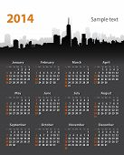 pic of weekdays  - 2014 year stylish calendar on cityscape background - JPG