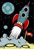Espaço retro foguetão levantar