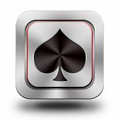 Playing Card, Pik, Aluminum Glossy Icon, Button