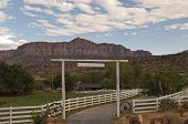 picture of long distance  - Entrance of a ranch in zion national parc - JPG