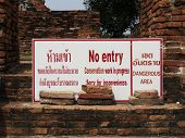No Entry Sign, Historical Place, Thailand