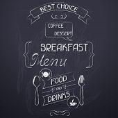 Breakfast on the restaurant menu chalkboard.