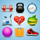 foto of treadmill  - vector icon set for fitness - JPG