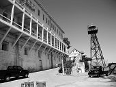 Alcatraz Prison, San Francisco, Us - June 2005: A View Of The Prison Dock With Guard Tower