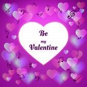 Purple Valentine's Day Card With Hearts