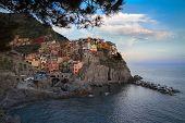 Village Of Manarola With Blue Skies, Cinque Terre, Italy